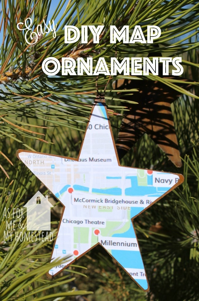 Easy DIY Map Ornaments are a great way to commemorate a trip or remember a favorite place you've lived!