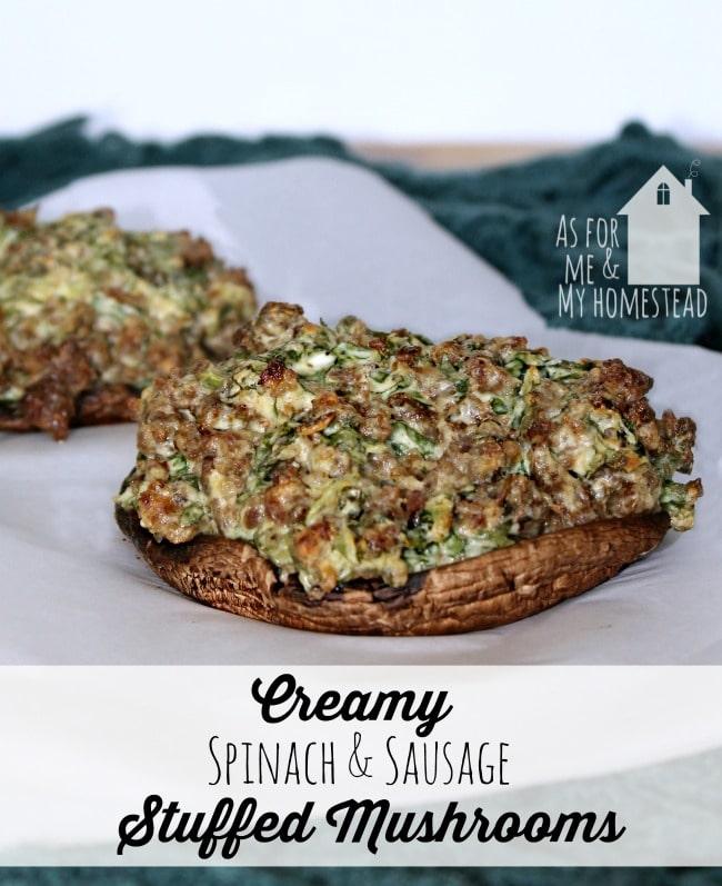 Creamy Spinach and Sausage stuffed Portabello Mushrooms