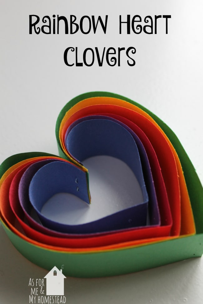 Rainbow Heart Clovers are a simple St. Patrick's Day craft for kids to do.