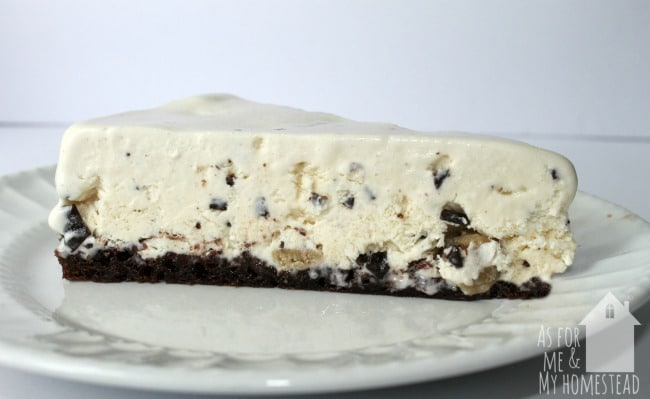 Chocolate Chip Cookie Dough Ice Cream Cake with Brownie Crust is a delightful frozen birthday cake!