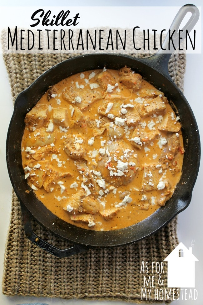 Skillet Mediterranean Chicken is a flavorful dinner that's made in just one skillet! Covered in a creamy, roasted red pepper sauce.