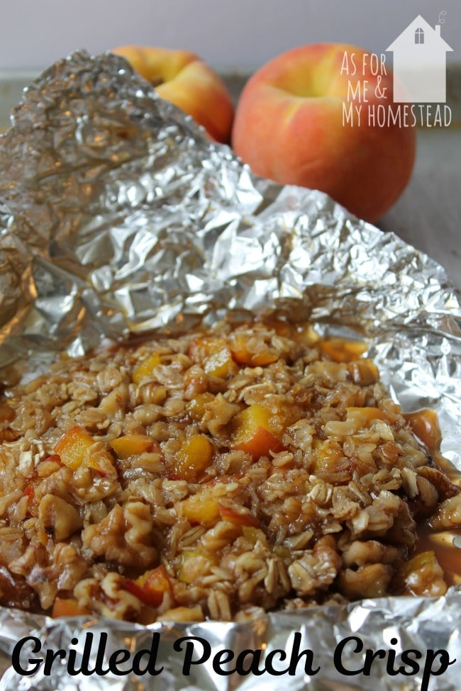 Grilled Peach Crisp is a deliciously simple foil packet recipe that can be grilled on the barbecue or cooked over the coals of a campfire.