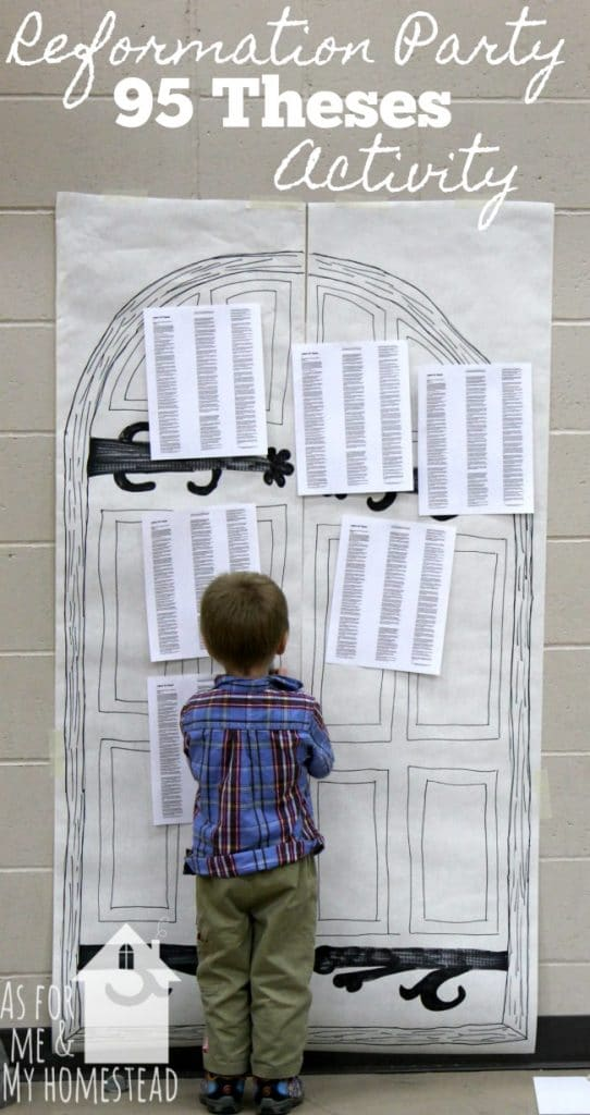 Nailing the 95 Theses on the door at Reformation Party