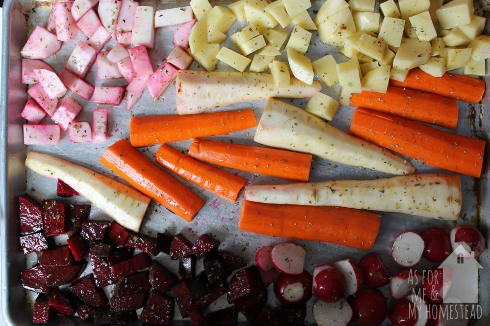 Delicious Roasted Root Vegetables, roasted on a sheet pan with olive oil, sea salt, and oregano