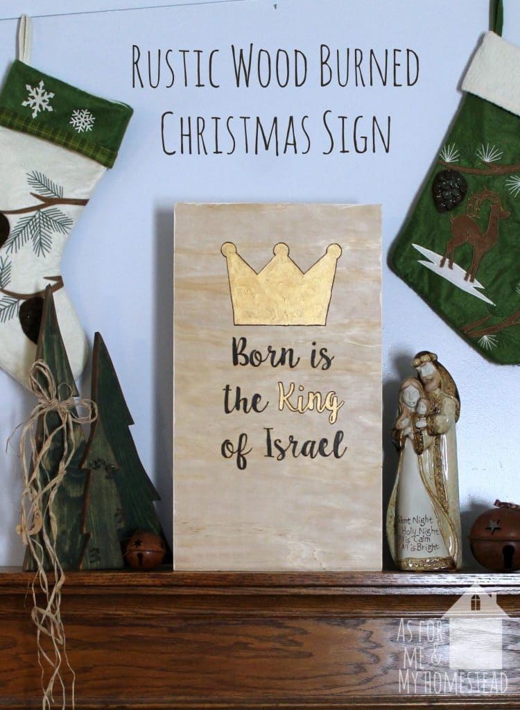 Farmhouse simplicity makes this wood burned sign perfect for any rustic Christmas decor!