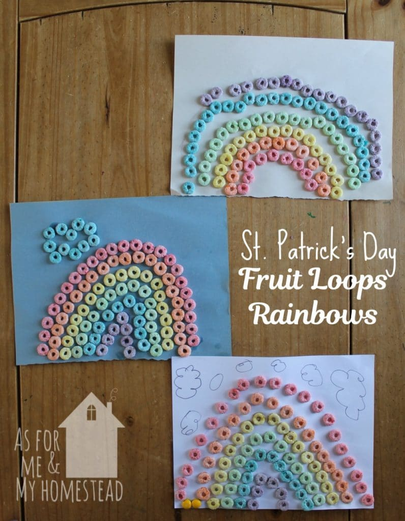 Fruit Loops Rainbows are a fun and delicious St. Patrick's Day craft for children of all ages! Great for practicing fine motor skills and gluing skills!