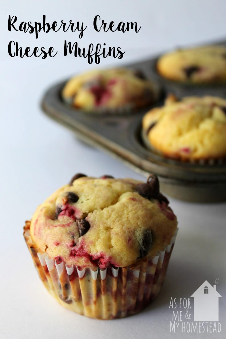 Chocolate Chip Raspberry Cream Cheese Muffins