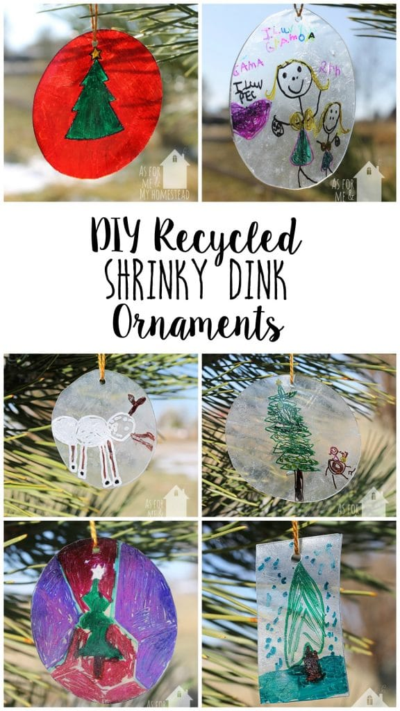 Making shrinky dinks is always a fun experiment!  And these Recycled Shrinky Dink Ornaments are such a cute way to give a piece of your child's art as a gift!