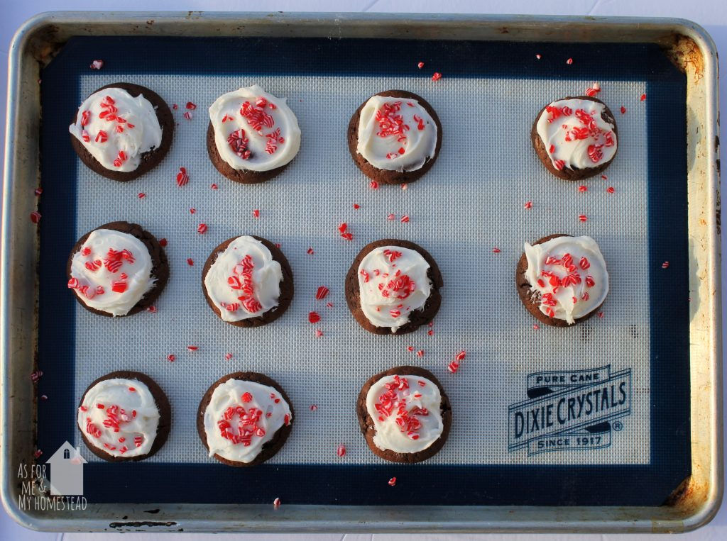 These Chocolate Candy Cane Cookies with Peppermint Cream Cheese Frosting are perfect for your holiday gatherings, or even to give as a gift to your neighbors or coworkers. Simply whip up a batch, and place in a cute basket or tin, and you've got a great Christmas present!
