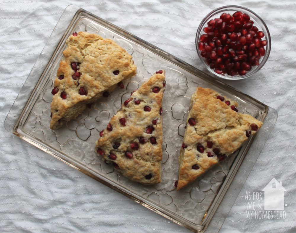 Pomegranate Scones are a delicious, easy recipe that's perfect for breakfast or a snack!  Pomegranate Scones make a festive Christmas breakfast!