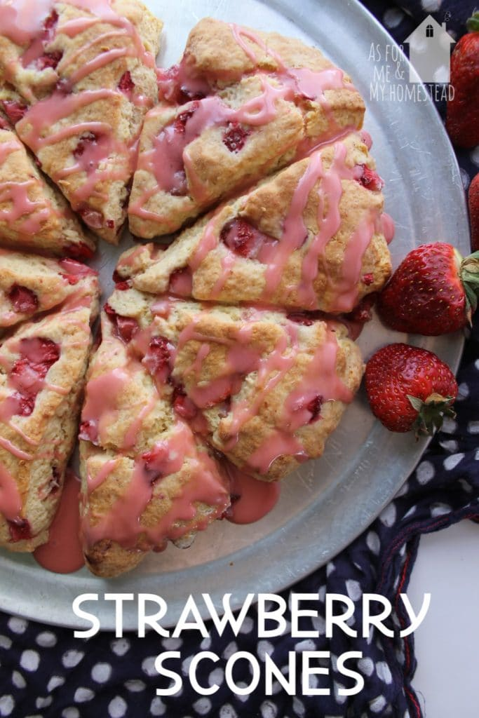 Strawberry Scones make a great spring breakfast or treat.  They've got delicious, fresh strawberries throughout, and they're drizzled with strawberry glaze.
