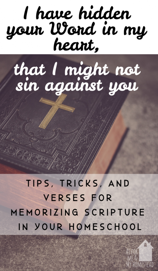 Why we practice homeschool scripture memorization, as well as scripture selections we've memorized this school year.