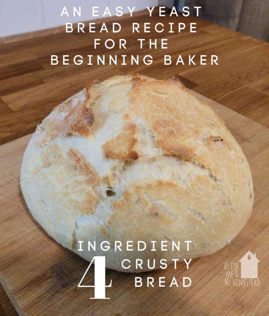 Crusty Bread, like you'd find in Europe, doesn't have to be difficult. In fact, with just 4 ingredients, it's one of the easiest yeast breads to try. The perfect recipe if you've been wanting to make your own bread-- get it started with just 10 minutes of prep time in the morning, and you're ready to pop it in the oven for dinnertime!