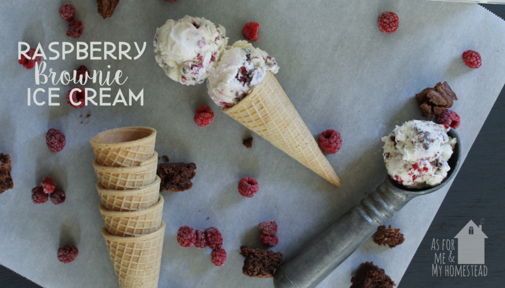 Decadent and delicious Raspberry Brownie Ice Cream is a recipe your whole family will enjoy. Chunks of brownie and whole raspberries are surrounded by homemade vanilla ice cream in this must-have dessert.