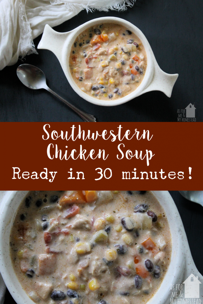 Ready in less than 30 minutes, this Southwestern Chicken Soup recipe is perfect for busy weeknights! This soup is packed full of flavor, and made from scratch, yet it's simple and quick to make!