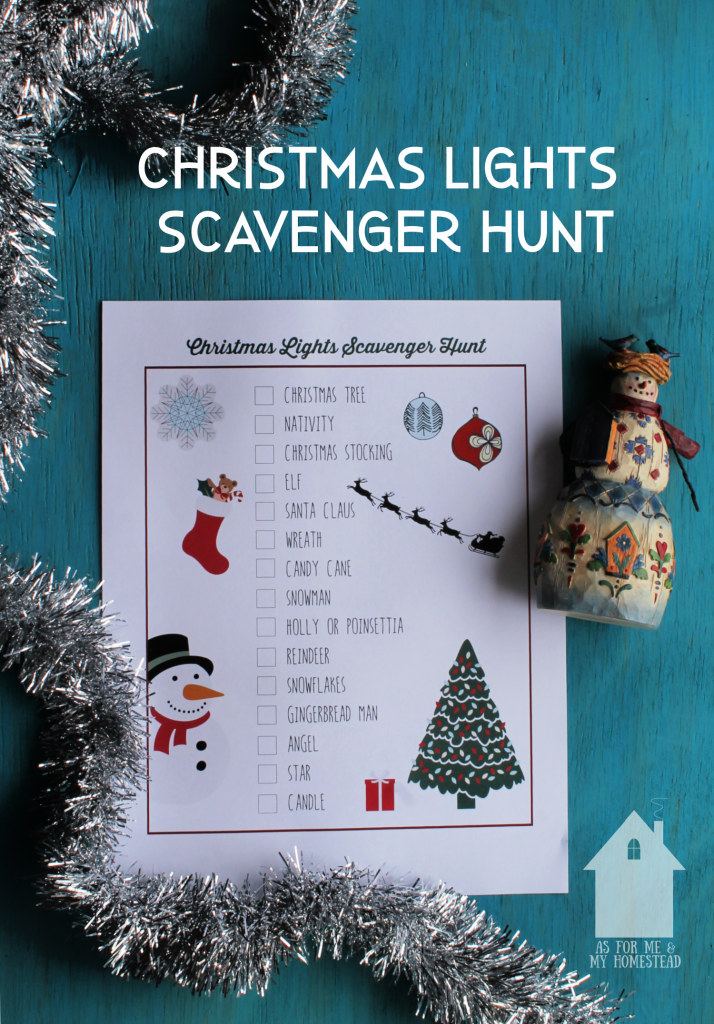 Make your family outing to view neighborhood Christmas lights more fun with this Christmas Lights Scavenger Hunt.