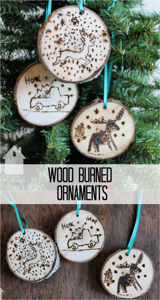 DIY Wood Burned Ornaments made by my kids! With some wood slices, and a wood burning kit, your kids can create anything they can dream up!